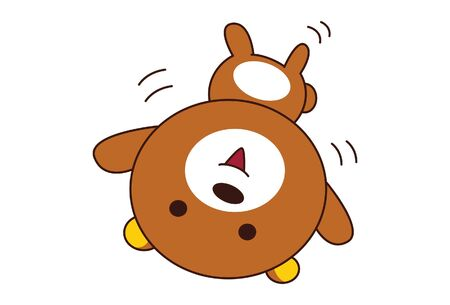 Vector cartoon illustration of cute teddy bear . Isolated on white background.
