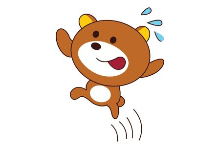 Vector cartoon illustration of cute teddy bear is running. Isolated on white background.