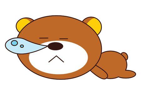 Vector cartoon illustration of cute teddy bear is sleeping. Isolated on white background.