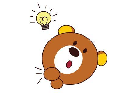 Vector cartoon illustration of cute teddy bear with idea bulb. Isolated on white background. Иллюстрация
