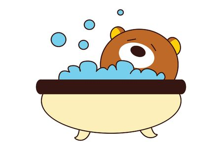 Vector cartoon illustration of cute teddy bear taking bath in bath tub. Isolated on white background.