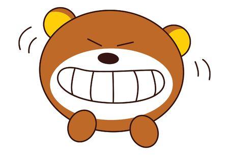 Vector cartoon illustration. Cute teddy bear is angry. Isolated on white background. Иллюстрация