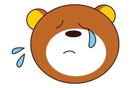 Vector cartoon illustration of cute teddy bear closed eyes. Isolated on white background. Иллюстрация