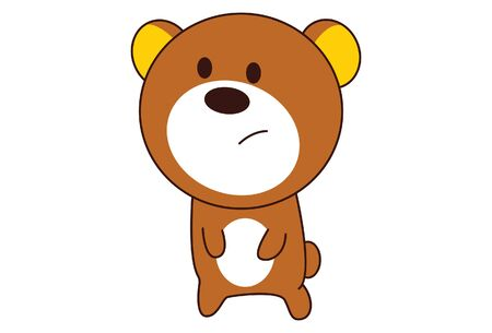 Vector cartoon illustration of cute teddy bear sad expression. Isolated on white background. Иллюстрация
