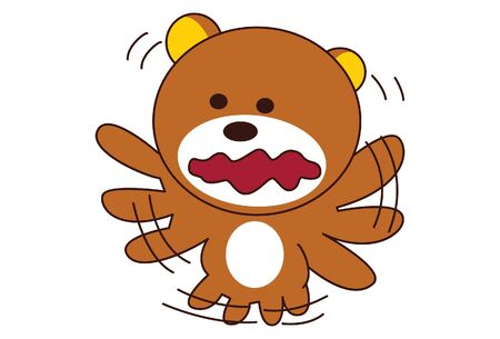 Vector cartoon illustration of cute teddy bear with multiple hands and legs . Isolated on white background.