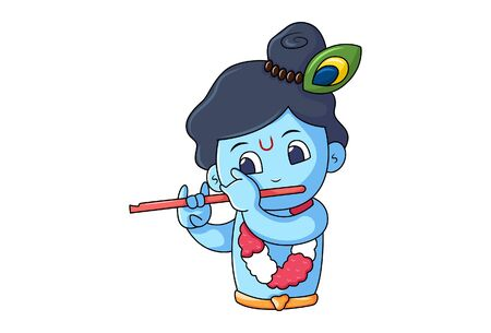 Vector cartoon illustration of cute Krishna playing flute. Isolated on white background.