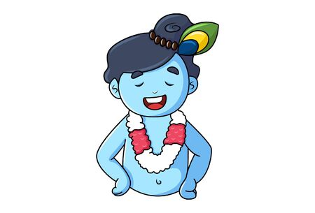 Vector cartoon illustration of cute happy Krishna. Isolated on white background.  イラスト・ベクター素材