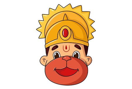 Vector cartoon illustration of Lord hanuman. Isolated on white background.  イラスト・ベクター素材
