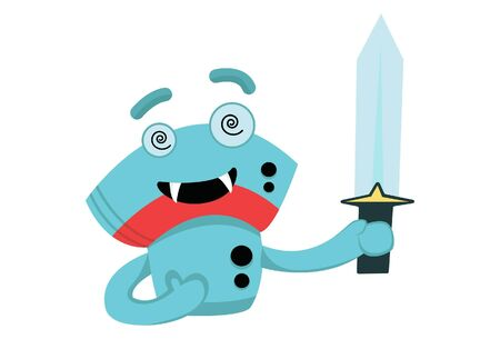 Vector cartoon illustration of a cute robot with a sword. Isolated on white background.