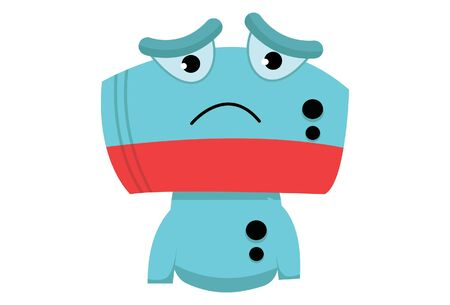 Vector cartoon illustration of cute robot sad face. Isolated on white background.