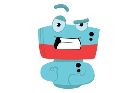 Vector cartoon illustration of cute robot angry expression. Isolated on white background.