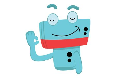 Vector cartoon illustration of cute robot smile face. Isolated on White background.