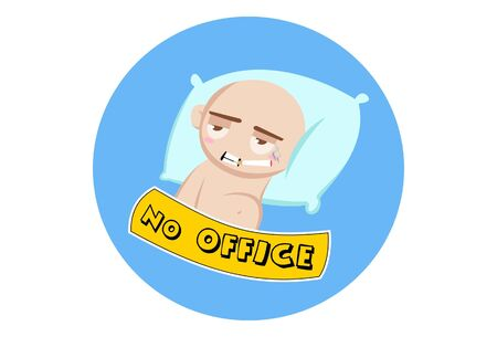 Vector cartoon illustration of a cute baby is sleeping. Lettering no office text. Isolated on white background.