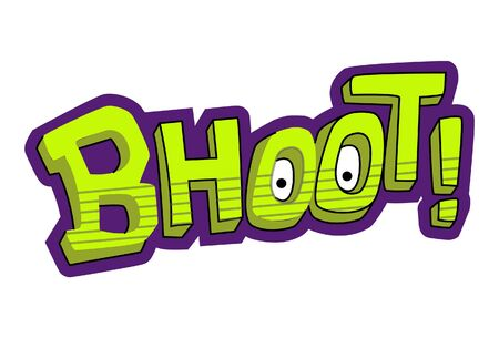Vector cartoon illustration of text sticker. Bhoot Hindi text translation - Ghost. Isolated on white background. Çizim