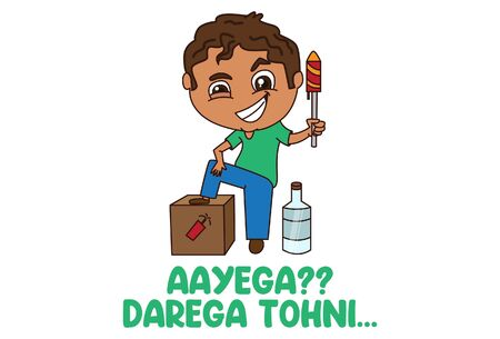 Vector cartoon illustration boy holding firecracker in hand. Aayega?? darega tohni Hindi text translation - come?? do not scared. Isolated on white background. Векторная Иллюстрация