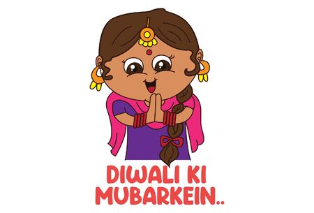 Vector cartoon illustration of girl in traditional dress with greet hand. Diwali ki mubarkein Hindi text translation - Happy Diwali. Isolated on white background.