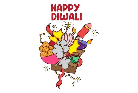Vector cartoon illustration of Diwali gifts. Lettering Happy Diwali text. Isolated on white background.