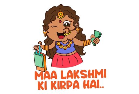 Vector cartoon illustration. The woman is holding a shopping bag and money in hand. Maa Lakshmi ki kirpa hai Hindi text translation - the blessing of goddess Laxmi. Isolated on white background. Illustration