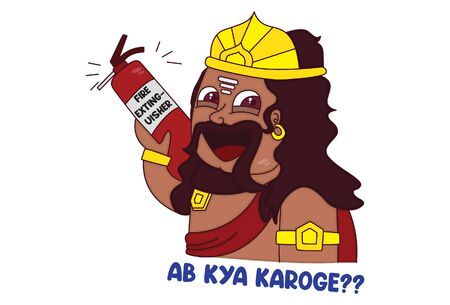 Vector cartoon illustration. Cute ravan is holding fire extinguisher in hand. Ab kya karoge Hindi text translation - now what will you do. Isolated on white background.