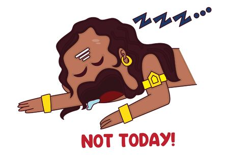 Vector cartoon illustration. Cute ravan character is sleeping and saying not today. Isolated on white background. Ilustrace