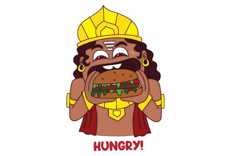 Vector cartoon illustration of ravan eating burger. Lettering hungry text. Isolated on white background. Ilustração