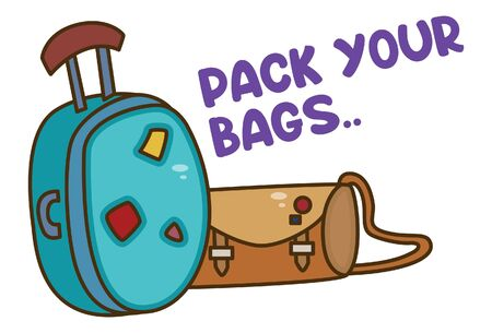 Vector cartoon illustration of bags. Lettering pack your bags text. Isolated on white background. Иллюстрация