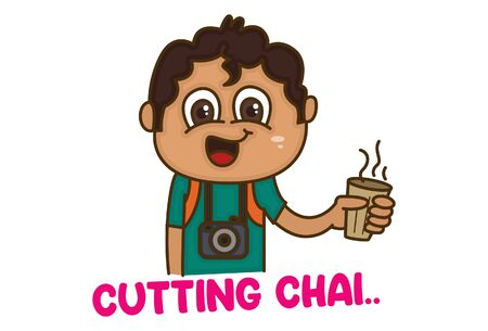 Vector cartoon illustration of boy holding cup of tea in hand. Cutting chai text translation - cup of tea. Isolated on white background.
