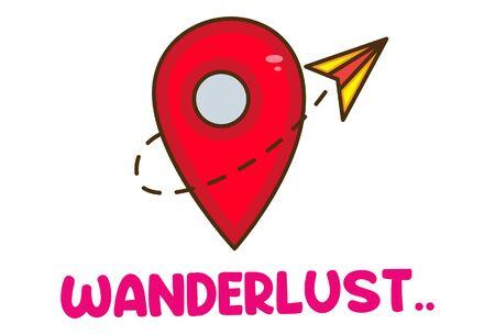 Vector cartoon illustration of wanderlust icon. Isolated on white background.