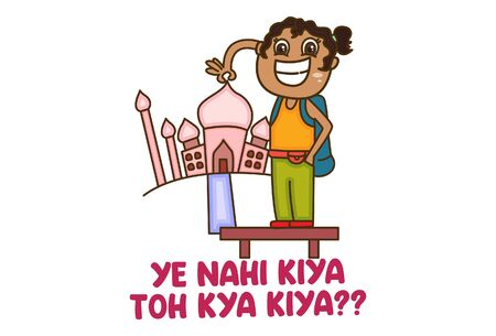 Vector cartoon illustration of girl taking picture with tajmahal. Ye nahi kiya toh kya kiya Hindi text translation - Did not do what you did. Isolated on white background.