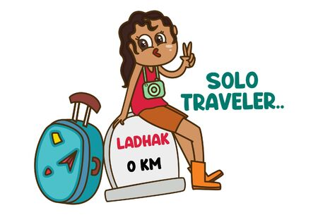 Vector cartoon illustration of girl traveler in ladhak showing victory sign. Lettering solo traveler text. Isolated on white background. Ilustracja