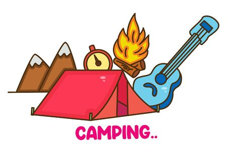 Vector cartoon illustration of tent, guitar, fire, watch and mountains. Lettering camping text. Isolated on white background.