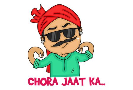 Vector cartoon illustration. Haryanvi man is wearing glasses. Chora jatt ka text translation - son of jatt. Isolated on white background.