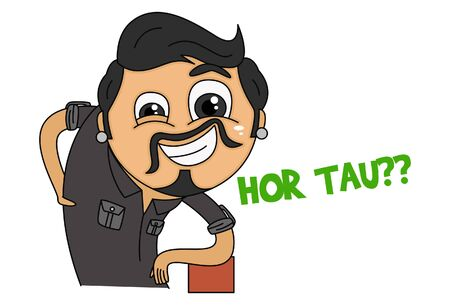 Vector cartoon illustration. Haryanvi man is standing in style. Hor tau?? text translation - How are you uncle? Isolated on white background.