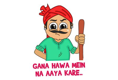 Vector cartoon illustration of haryanvi man with wooden stick. Gana hawa mein na aaya kare text translation - dont show me attitude. Isolated on white background.