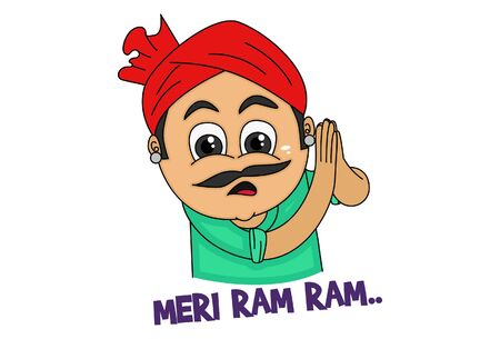 Vector cartoon illustration. Haryanvi man is greet hand. Meri ram ram text translation - Greet . Isolated on white background.