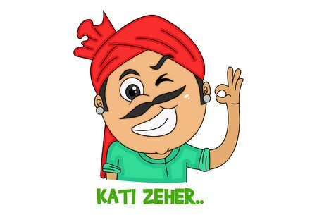 Vector cartoon illustration of haryanvi man making eyes. Kati zeher text translation - looking fabulous. Isolated on white background.