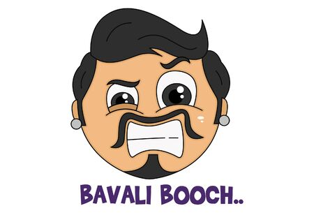Vector cartoon illustration of haryanvi man face. Bavali booch text translation - crazy tail. Isolated on white background.