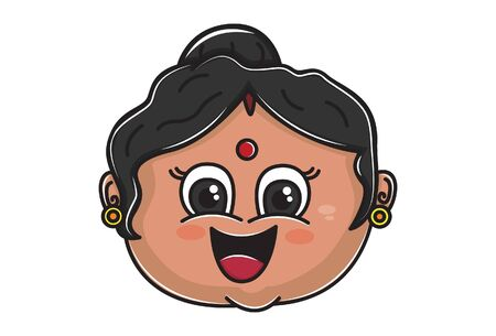 Vector cartoon illustration of Indian aunty  face is happy. Isolated on white background.