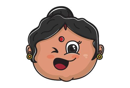 Vector cartoon illustration. Indian aunty is making eyes. Isolated on white background.