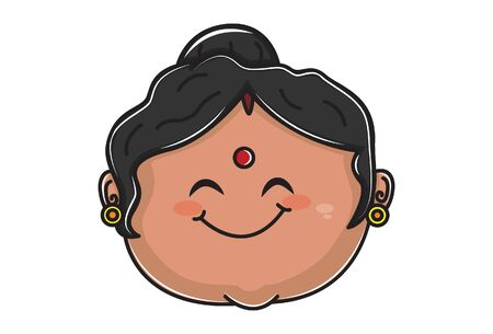 Vector cartoon illustration of indian aunty smiley face. Isolated on white background.