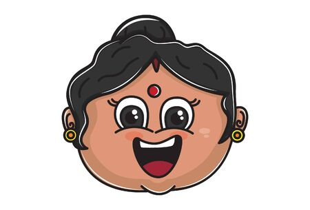 Vector cartoon illustration of Indian aunty happy face. Isolated on white background. 일러스트