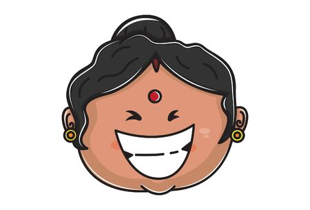Vector cartoon illustration of Indian aunty face is laughing. Isolated on white background.