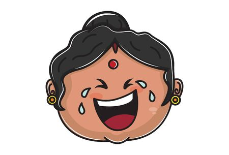 Vector cartoon illustration of Indian aunty is crying. Isolated on white background. 일러스트