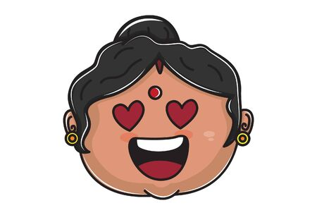 Vector cartoon illustration of Indian aunty face in love. Isolated on white background.