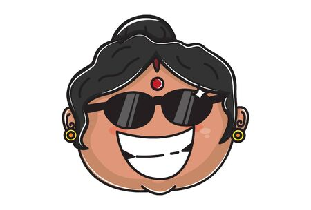 Vector cartoon illustration of Indian aunty wearing glasses. Isolated on white background. 일러스트