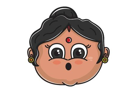 Vector cartoon illustration of Indian aunty astonished face. Isolated on white background.