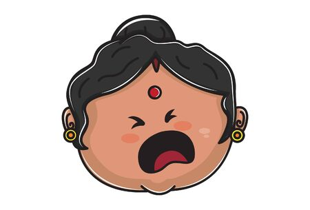 Vector cartoon illustration of Indian aunty sad face. Isolated on white background.