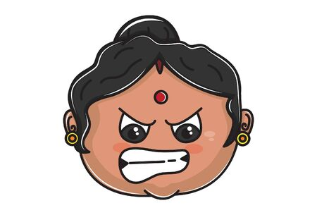 Vector cartoon illustration of Indian aunty angry face. Isolated on white background.
