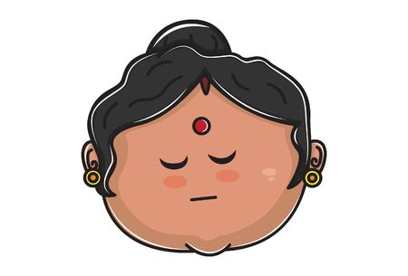 Vector cartoon illustration of Indian aunty face with closed eyes. Isolated on white background.