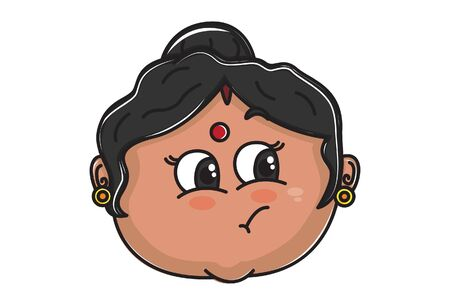 Vector cartoon illustration of Indian aunty naughty face. Isolated on white background.